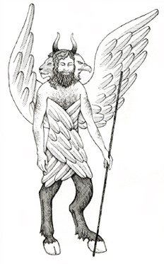 A Biblical Cherub -- one of Maia Kobabe's illustrations for The Jericho River