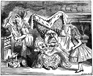 The Ugly Duchess may have inspired John Tenniel's 1869 illustration of the Duchess in Alice in Wonderland.